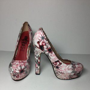 DESIIGN By JACOB Floral Pink Stiletto Heels Pumps